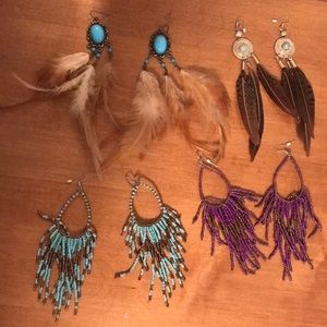 4 pair boho dangle earring bundle